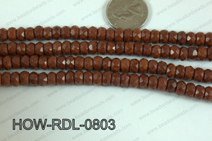 Howlite Rondelle Faceted Brown 08mm HOW-RDL-0803