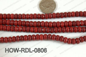 Howlite Rondelle Red Faceted 08mm HOW-RDL-0806