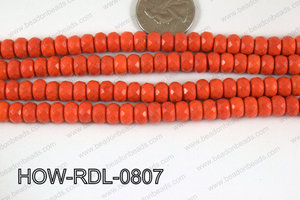Howlite Rondelle Orange Faceted 08mm HOW-RDL-0807