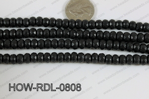 Howlite Rondelle Faceted Black 08mm HOW-RDL-0808
