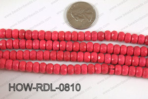 Howlite Rondelle Faceted Hot Pink 08mm HOW-RDL-0810