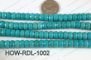 Howlite Rondelle Faceted Turquoise 10mm HOW-RDL-1002