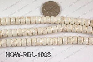 Howlite Rondelle Faceted White 10mm HOW-RDL-1003