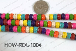 Howlite Rondelle Faceted Multicolor 10mm HOW-RDL-1004