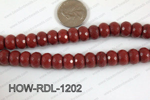 Howlite Rondelle Faceted Red 12mm HOW-RDL-1202