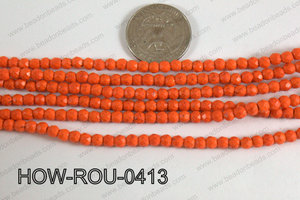 Howlite Round Faceted Orange 4mm HOW-ROU-0413