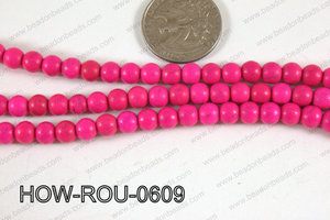 Howlite Round Hot Pink 6mm HOW-ROU-0609