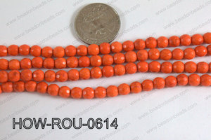 Howlite Round Faceted 96 cut Orange 6mm HOW-ROU-0614