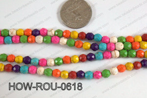 Howlite Round Faceted 32 cut Multicolor 6mm HOW-ROU-0618