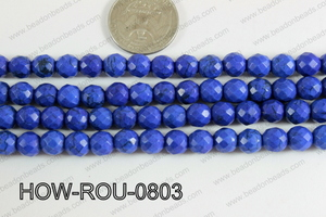 Howlite Round Faceted 32 cut Dark Blue 8mm HOW-ROU-0803