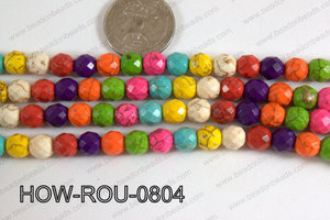 Howlite Round Faceted 32 cut Multicolor 8mm HOW-ROU-0804