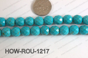 Howlite Round Faceted 32 Cut Turquoise 12mm HOW-ROU-1217
