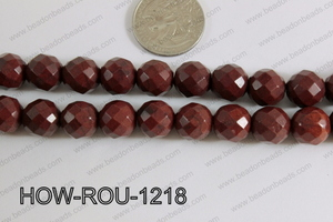 Howlite Round Faceted 32 Cut Brown 12mm HOW-ROU-1218