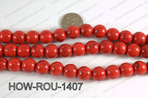 Howlite Round  Light Red 14mm HOW-ROU-1407