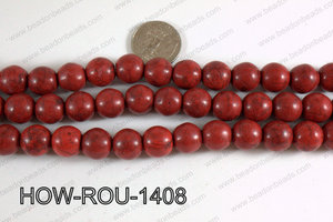 Howlite Round Dark Red 14mm HOW-ROU-1408