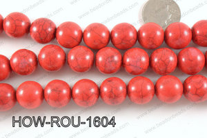 Howlite Round Red 16mm HOW-ROU-1604