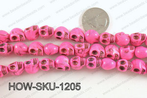 howlite skull hot pink 10x12mm HOW-SKU-1205