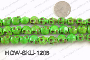 howlite skull green 10x12mm HOW-SKU-1206