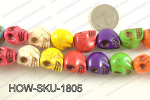 howlite skull multicolor 14x18mm HOW-SKU-1805