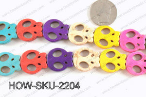 howlite skull multicolor 20x22 mm HOW-SKU-2204
