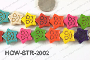 Howlite Star with Smile Face Multicolor 20mm HOW-STR-2002