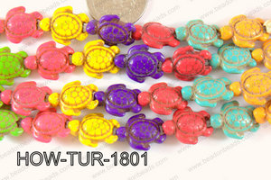 Howlite Turtle Multi color 18x15mm HOW-TUR-1801