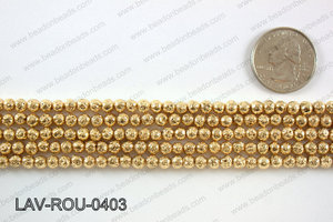 Electroplated Lava Round 4mm, Light gold LAV-ROU-0403