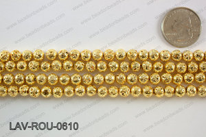 Electroplated Lava Round 6mm, Gold LAV-ROU-0610