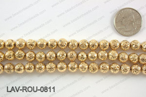 Electroplated Lava Round 8mm, Light goldLAV-ROU-0811