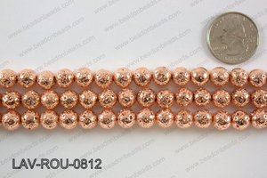 Electroplated Lava Round 8mm, Rose gold LAV-ROU-0812