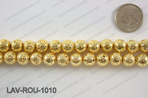 Electroplated Lava Round 10mm, GoldLAV-ROU-1010