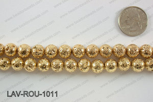 Electroplated Lava Round 10mm, Light gold LAV-ROU-1011