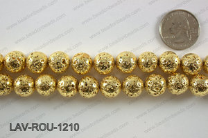 Electroplated Lava Round 12mm, Gold LAV-ROU-1210