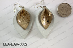 Double Leather leaf earrings 50x32mm LEA-EAR-5002