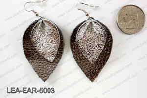Double Leather leaf earrings 50x32mm LEA-EAR-5003