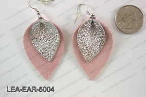 Double Leather leaf earrings 50x32mm LEA-EAR-5004