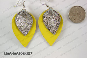 Double Leather leaf earrings 50x32mm LEA-EAR-5007