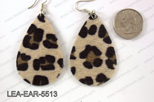 Imitation leather teardop earrings 55x35mm LEA-EAR-5513