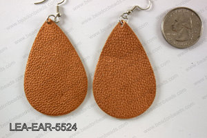 Imitation leather teardop earrings 55x35mm LEA-EAR-5524