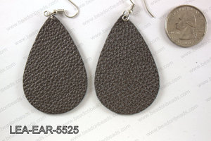 Imitation leather teardop earrings 55x35mm LEA-EAR-5525