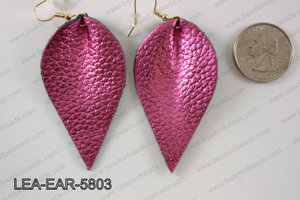 Leather leaf earrings 58x35mm LEA-EAR-5803