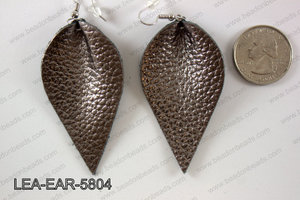 Leather leaf earrings 58x35mm LEA-EAR-5804