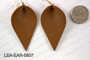 Leather leaf earrings 58x35mm LEA-EAR-5807