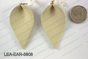 Leather leaf earrings 58x35mm LEA-EAR-5808