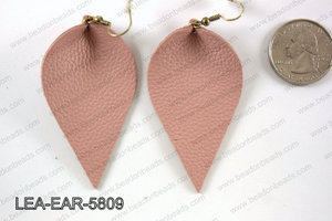 Leather leaf earrings 58x35mm LEA-EAR-5809