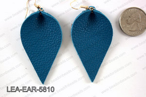 Leather leaf earrings 58x35mm LEA-EAR-5810