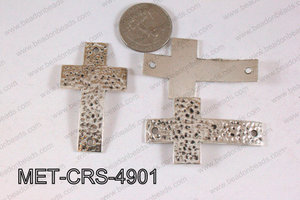 Hammered Metal Cross Connector Light Silver 49x29mm MET-CRS-4901