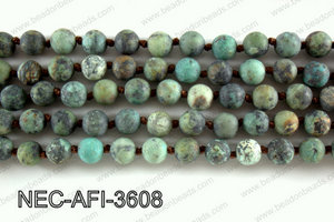 Knotted 8mm Matte African Turquoise necklace  NEC-AFI-3608