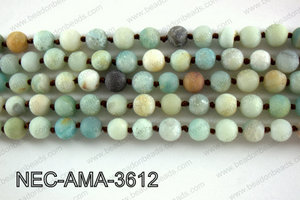 Knotted 8mm Matte Amazonite necklace  NEC-AMA-3612