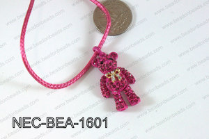 Necklace With Bear Hot Pink 34mmNEC-BEA-1601